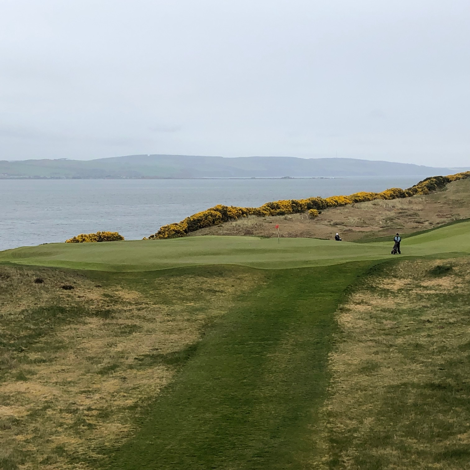 view of castle stuart golf course with ocean in background