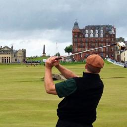SIS Board Chairman Todd Rohrer swinging at St. Andrews